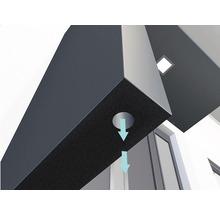 Auvent rectangulaire Gutta BS Plus 200x90 cm en anthracite, élément latéral avec boîte aux lettres gauche compris-thumb-2