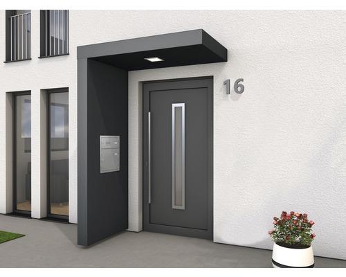 Auvent rectangulaire Gutta BS Plus 160x90 cm en anthracite, élément latéral avec boîte aux lettres en acier inoxydable gauche compris-0