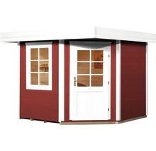 Abri de jardin Designhaus 213+ weka taille 2 dimension de passage élevée 195 cm, avec plancher 298 x 298 cm rouge-thumb-1