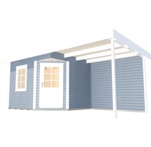 Abri de jardin Designhaus 213 A+ weka taille 2 dimension de passage élevée 195 cm, avec plancher et toit en appentis 442 x 295 cm gris-thumb-1