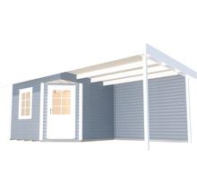 Abri de jardin Designhaus 213 B+ weka taille 2 dimension de passage élevée 195 cm, avec plancher et toit en appentis 593 x 298 cm gris-thumb-1
