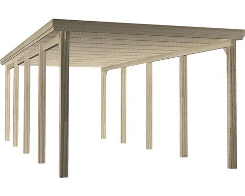 Carport simple weka 617 taille 3 avec toiture en plastique 322x802cm traité en autoclave par imprégnation-0