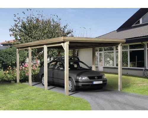 Carport simple weka 617 taille 2 avec toiture en acier 322x612cm traité en autoclave par imprégnation