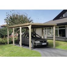 Carport simple weka 617 taille 2 sans couverture de toiture 322x612cm traité en autoclave par imprégnation-thumb-0