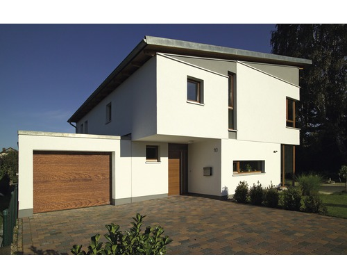 Porte sectionnelle ARON 2500x2500 mm golden oak avec motorisation de porte de garage, émetteur portatif à 2 touches RSC2