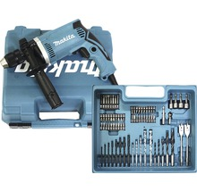 Perceuse à percussion Makita HP1631KX3 710W avec kit d''accessoires de 74pièces-thumb-0