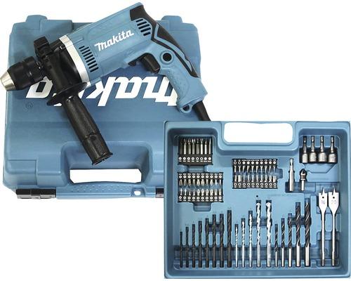 Perceuse à percussion Makita HP1631KX3 710W avec kit d''accessoires de 74pièces