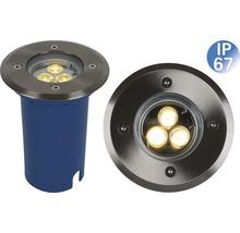 Spot encastré au sol IP67 1 ampoule acier inoxydable/brossé-thumb-0