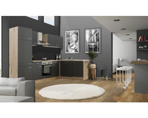 Cuisine d''angle Flex Well Tiago 280 cm gris basalte/chêne San Remo clair 00011851