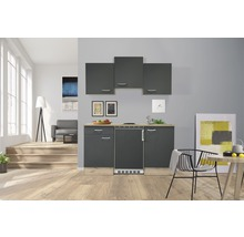 Kitchenette Flex Well Morena 150 cm gris basalte/San Remo chêne clair-thumb-0