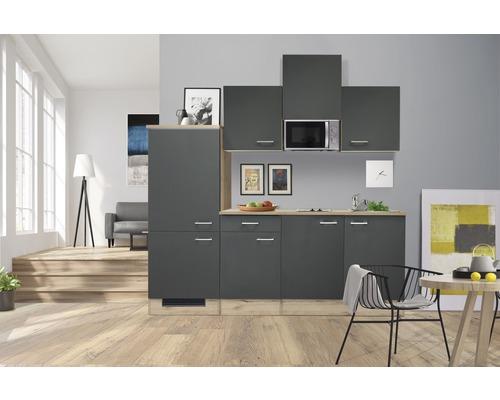 Kitchenette Flex Well Morena 210 cm gris basalte/San Remo chêne clair