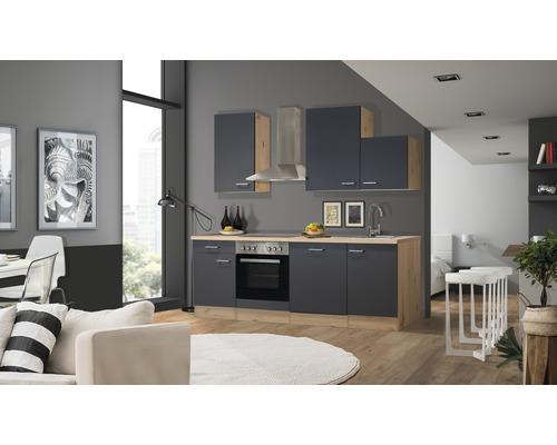 Cuisine complète Flex Well Morena 220 cm gris basalte/San Remo chêne clair