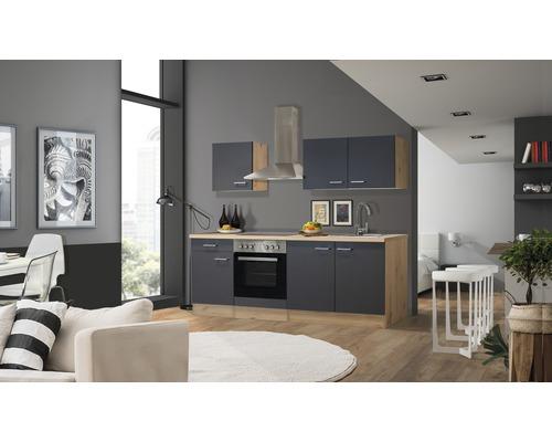 Cuisine complète Flex Well Morena 210 cm gris basalte/San Remo chêne clair