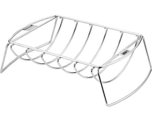 Support pour travers de porc Rib Holder Spare Rib support et panier à rôtir acier inoxydable multifonctions argent Weber