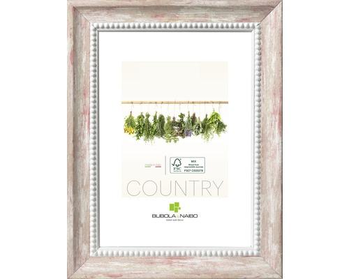 Cadre en bois Country blanc-rouge 10x15 cm