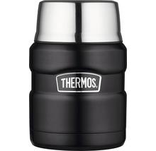 Récipient THERMOS, acier inoxydable Mat Black 0,47 l, cuillère intégrée, 9 heures de chaleur, 14 heures de fraîcheur, sans BPA-thumb-0