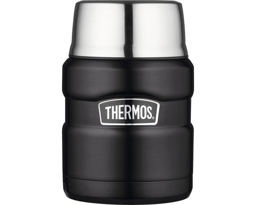 Récipient THERMOS, acier inoxydable Mat Black 0,47 l, cuillère intégrée, 9 heures de chaleur, 14 heures de fraîcheur, sans BPA-0
