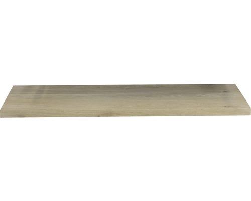 Waschtischplatte Top 160x46 cm Gerade Seite Baumkante Schwartenbrett Eiche massiv matt ohne Ausschnitt