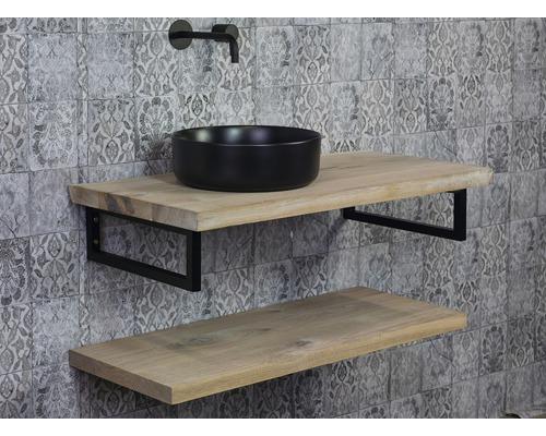 Plan de toilette Top 100x46 cm côté droit flache planche à croûte chêne massif mat sans découpe