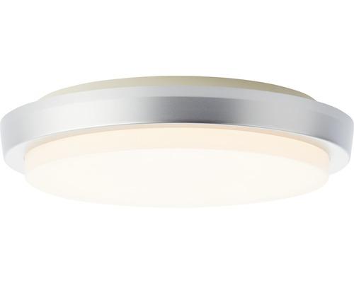 Plafonnier extérieur LED IP54 12W 900 lm 3000 K blanc chaud hxØ 48x280 mm Devora argent/blanc plastique