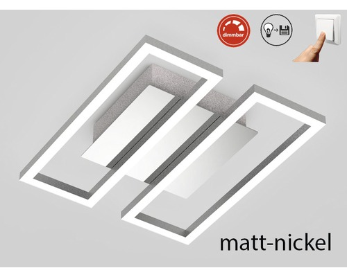 Plafonnier LED à intensité lumineuse variable 1x14,5W 1x1400 lm 3000 K blanc chaud Frames nickel/mat Lxlxh 280/238/60 mm