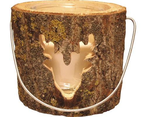 Photophore en bois tête de renne Ø 18 H 15 cm