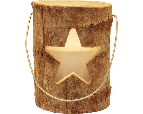 Photophore en bois étoile Ø21 H26cm