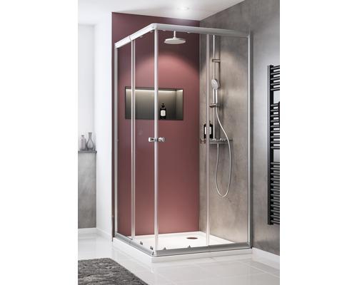 Douche accès d''angle avec porte coulissante Schulte Sunny 80-90 cm verre transparent couleur profilé argent