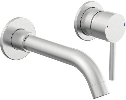 Robinet de lavabo à encastrer AVITAL ARAS aspect acier inoxydable
