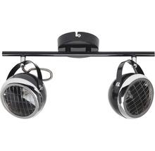 Plafonnier 2 ampoules larg.375mm Rider chromé/noir-thumb-2