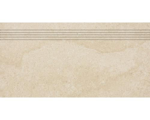 Carrelage d''escalier Udine beige non émaillé 30 x 60 cm