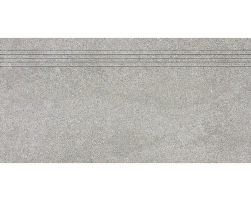 Carrelage d''escalier Udine gris non émaillé 30 x 60 cm