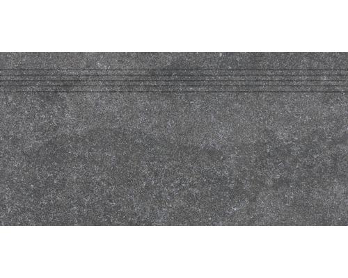 Carrelage d''escalier Udine noir non émaillé 30 x 60 cm