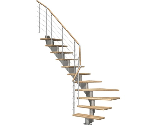 Escalier à limon central Pertura Alena 1/4 tournant avec balustrade en acier inoxydable 13 montées 85 cm chêne bois lamellé-collé/gris