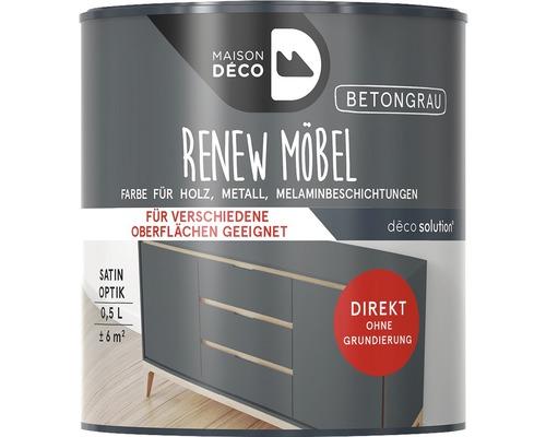 Peinture à effets pour meubles satin Maison Deco Renew, gris béton, 500ml