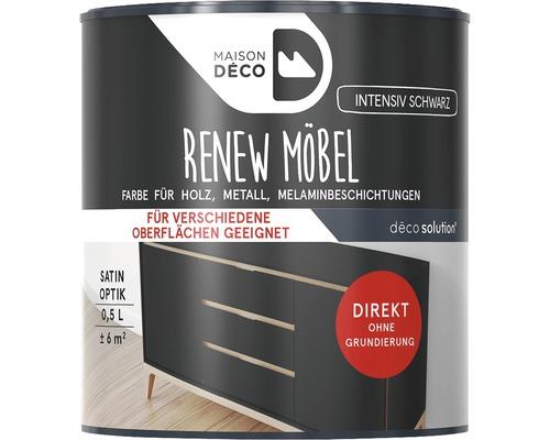 Peinture à effets pour meubles satin Maison Deco Renew, noir intensif, 500ml
