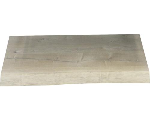 Waschtischplatte Top 80x41 cm Baumkante Schwartenbrett Seite Eiche massiv matt ohne Ausschnitt
