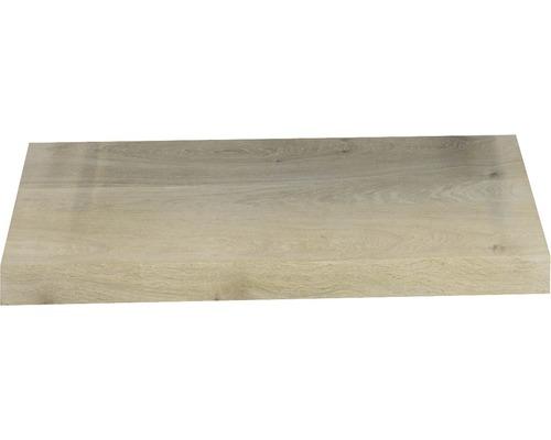 Waschtischplatte Top 60x41x4 cm Gerade Seite Baumkante Schwartenbrett Eiche massiv matt ohne Ausschnitt