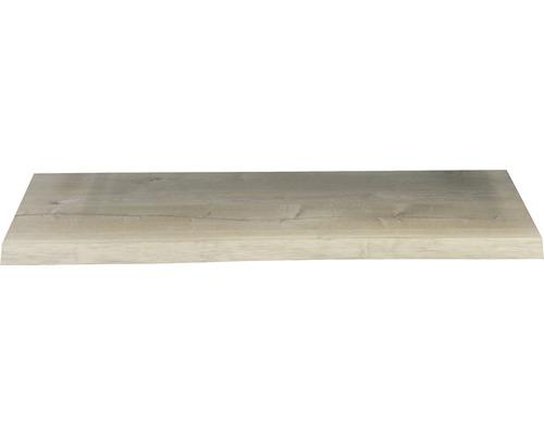 Waschtischplatte Top 120x41 cm Baumkante Schwartenbrett Seite Eiche massiv matt ohne Ausschnitt