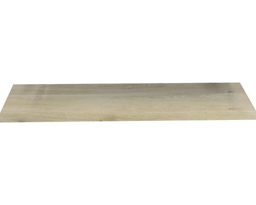 Waschtischplatte Top 100x41 cm Gerade Seite Baumkante Schwartenbrett Eiche massiv matt ohne Ausschnitt