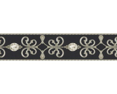 Frise autocollante vinyle ornement noir 5m x 15cm-0