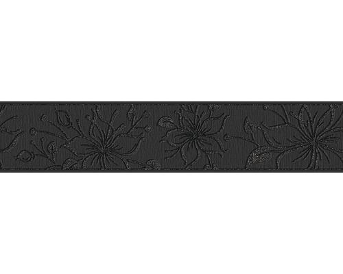 Frise vinyle autocollante fleurs noir scintillant 5 m x 13 cm