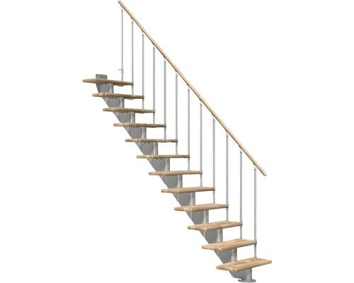 Escalier à limon central Pertura Alena droit avec balustrade à une barre 14 montées 85 cm chêne lamellé-collé/gris