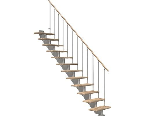 Escalier à limon central Pertura Alena droit avec balustrade à une barre 11 montées 85 cm chêne lamellé-collé/gris