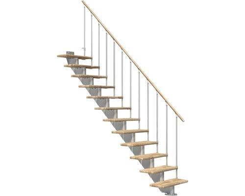 Escalier à limon central Pertura Alena droit avec balustrade à une barre 12 montées 85 cm chêne lamellé-collé/gris