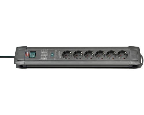 Bloc multiprise Brennenstuhl avec protection contre la surtension 6 emplacements de prises disposés à 45° interrupteur de sécurité 3G1,5 Premium-Line noir 2m