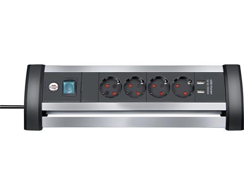 Bloc multiprise Brennenstuhl 4 emplacements prises disposées à 45° 2 ports de chargement USB interrupteur 3G1,5 Alu-Office-Line argent/noir 1,8 m