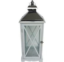 Lanterne bois métal H65cm blanc-thumb-0