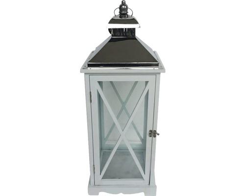 Lanterne bois métal H65cm blanc-0