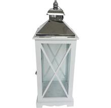 Lanterne bois métal H65cm blanc-thumb-1